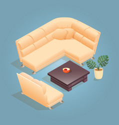 isometric cartoon armchair icon isolated on blue vector image
