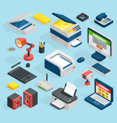 isometric office equipment technics vector image