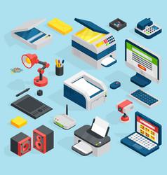 Isometric office equipment technics vector