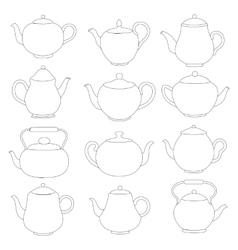 line tea pots signs vector image