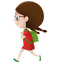 little girl in red carrying green backpack vector image