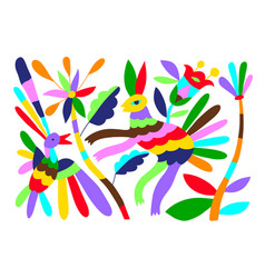 mexican tribal embroidary otomi style pattern vector image