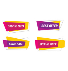 modern neon sale tags collection vector image