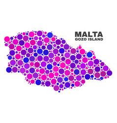 mosaic gozo island map of round dots vector image