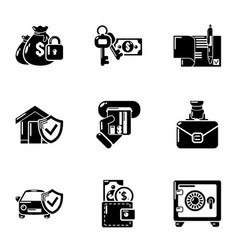 Motor insurance icons set simple style vector