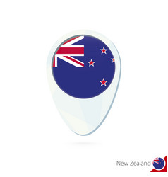 New zealand flag location map pin icon on white vector