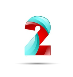 Number two 2 colorful 3d volume icon design for vector