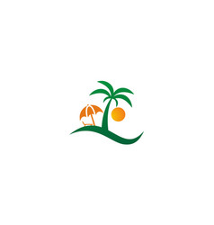 palm tree beach holiday logo vector image