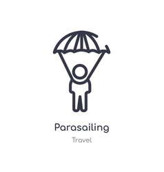 parasailing outline icon isolated line from vector image