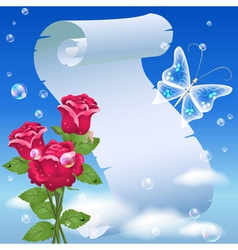 parchment and roses vector image