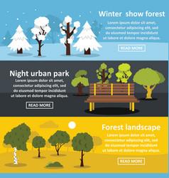 Park landscape banner horizontal set flat style vector