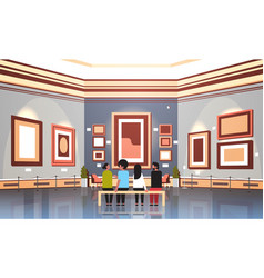 People tourists visitors in modern art gallery vector