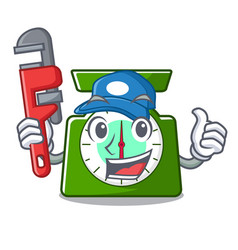 Plumber kitchen scale mascot cartoon vector
