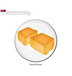 Proja sa sirom a popular dessert of serbia vector