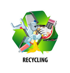 recycling label with different types of waste vector image