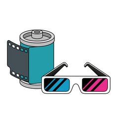 Roll camera with glasses nineties retro isolated vector