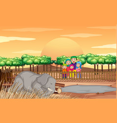 scene with people and elephant at zoo vector image