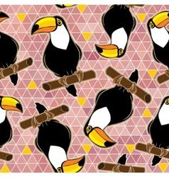 Seamless exotic brazil toucan bird background vector