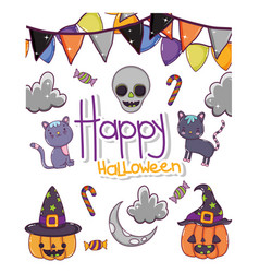 set halloween cartoons vector image