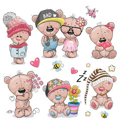 set of cute cartoon teddy bear vector image