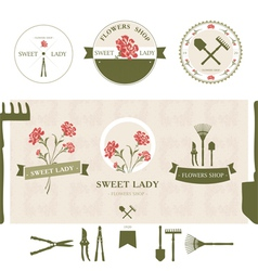 Set of flowers shop labels and design elements vector