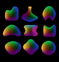 set of fluid colorful shapes on black vector image