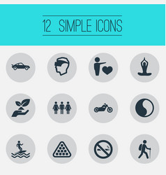 Set of simple fashion icons vector