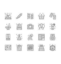 set party line icons celebration firecracker vector image