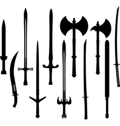 set swords and axes silhouettes vector image