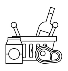 shopping basket meat milk and wine bottle vector image