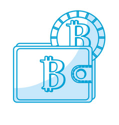 Silhouette bitcoin symbon in the wallet with coin vector