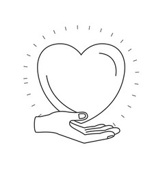 silhouette hand palm giving a heart charity symbol vector image