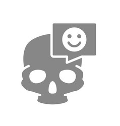 skull with happy face in speech bubble grey icon vector image