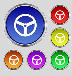Steering wheel icon sign Round symbol on bright vector