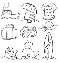 summer object doodles vector image
