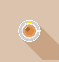 tea in cup with tea bag in top view vector image