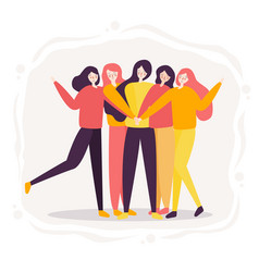 teamwork of woman successful high five together vector image