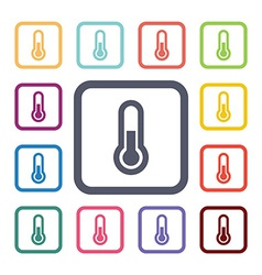 Thermometer flat icons set vector