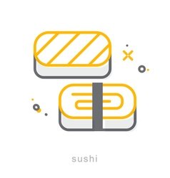 Thin line icons Sushi vector