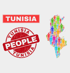 Tunisia map population demographics and unclean vector
