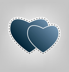 two hearts sign blue icon with outline vector image