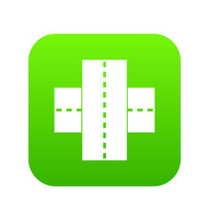 two roads icon digital green vector image