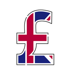 uk pound symbol united kingdom currency with flag vector image