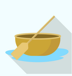 Vietnam round boat icon flat style vector
