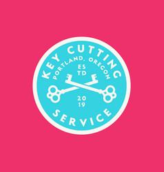 Vintage locksmith logo retro styled key cutting vector