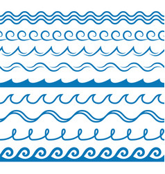 wave frames seamless marine wavy pattern blue vector image