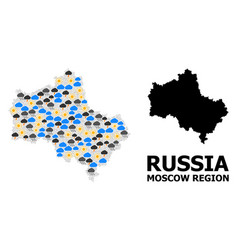 Weather collage map moscow region vector