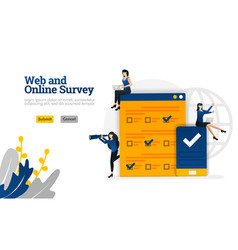 web and online survey for marketing advertising vector image