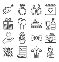 wedding and honeymoon icons set on white vector image