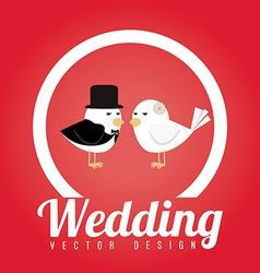 Wedding design over red background vector image